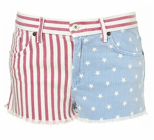 Flag Printed Hotpants//Topshop