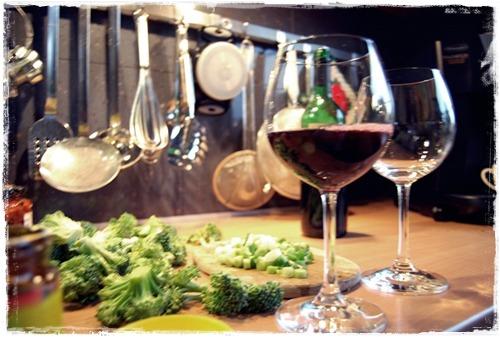 Wein und Kleb-Reis