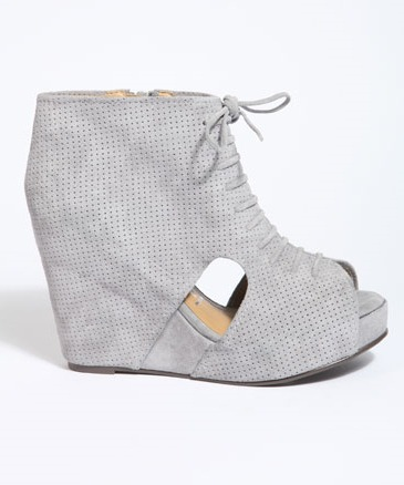 Lace Up Suede Wedge