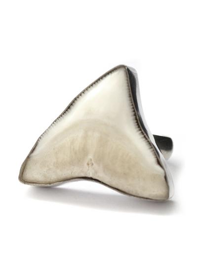 SILVER BULL SHARK TOOTH RING